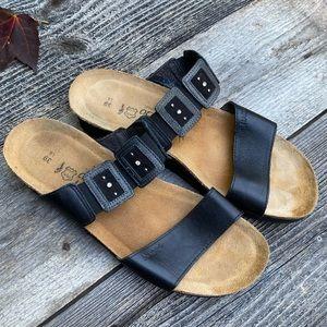 Naot Black Leather Rhinestone Jeweled Sandals